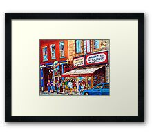 LINE-UP AT CHARCUTERIE SCHWARTZ SUMMER SCENE MONTREAL PAINTING Framed Print