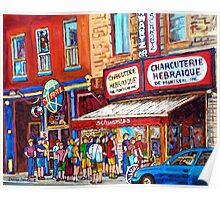LINE-UP AT CHARCUTERIE SCHWARTZ SUMMER SCENE MONTREAL PAINTING Poster