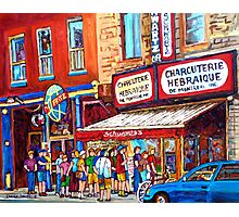 LINE-UP AT CHARCUTERIE SCHWARTZ SUMMER SCENE MONTREAL PAINTING Photographic Print