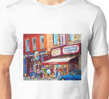 LINE-UP AT CHARCUTERIE SCHWARTZ SUMMER SCENE MONTREAL PAINTING Unisex T-Shirt