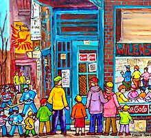 FAMILY DAY AT WILENSKY'S SANDWICH SHOP MONTREAL WINTER STREET SCENE PAINTING by Carole  Spandau