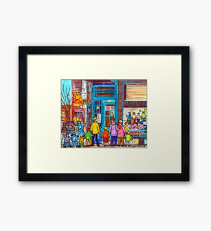 FAMILY DAY AT WILENSKY'S SANDWICH SHOP MONTREAL WINTER STREET SCENE PAINTING Framed Print
