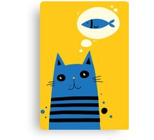 Blue Stripe Cat Dreaming of Fish Canvas Print