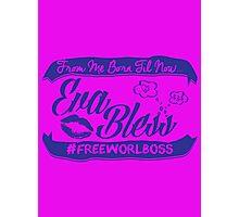 EVA BLESS #FREEWORLBOSS PURPLE Photographic Print