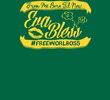 EVA BLESS #FREEWORLBOSS YELLOW Womens Fitted T-Shirt