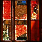The red-painted, broken Window.......... by Imi Koetz
