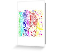 Rainbow Zentangle Elephant Greeting Card