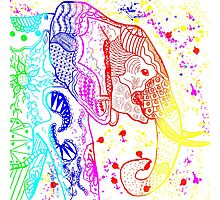 Rainbow Zentangle Elephant Photographic Print