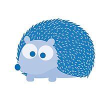 Cute Blue Hedgehog Illustration Photographic Print