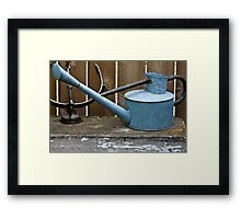 Vintage Watering Can In The Garden Framed Print