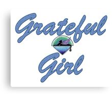 Grateful Girl Cat Under Stars Canvas Print