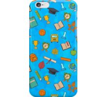 Back to school on blue background iPhone Case/Skin