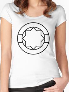 Sacred Geometry 8-Pointed Star Gunmetal Women's Fitted Scoop T-Shirt