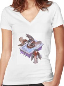Bird Bath Women's Fitted V-Neck T-Shirt