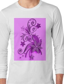 Pink and purple, floral design Long Sleeve T-Shirt