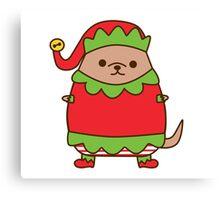 Cute Christmas Elf Pupsheen Canvas Print