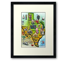 Texas Cartoon Map Framed Print