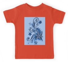 Blue ornament, floral design Kids Tee