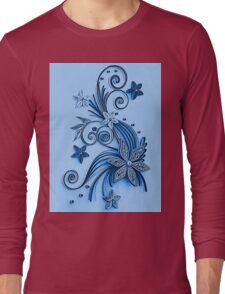 Blue ornament, floral design Long Sleeve T-Shirt