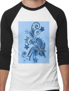 Blue ornament, floral design Men's Baseball ¾ T-Shirt