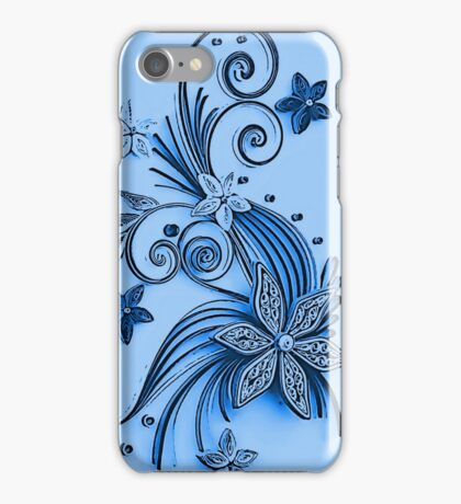 Blue ornament, floral design iPhone Case/Skin