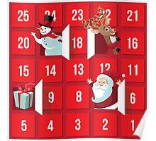 Cartoon Christmas Advent Calendar Poster