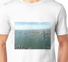 Aerial View, Hudson River,  Liberty State Park, Ellis Island, Statue of Liberty,Jersey City, New Jersey Unisex T-Shirt