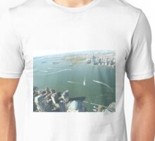 Aerial View, Hudson River,  Liberty State Park, Ellis Island, Statue of Liberty, Jersey City, New Jersey Unisex T-Shirt