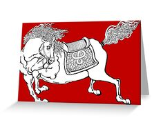 Dynasty Horse on Red Greeting Card