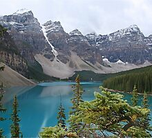 Snow topped mountains at Moraine Lake by Funkylikeabee