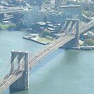 Aerial View, Brooklyn Bridge, East River, New York City by lenspiro