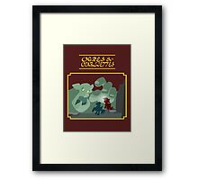 Ogres and Oubliettes - gold text Framed Print