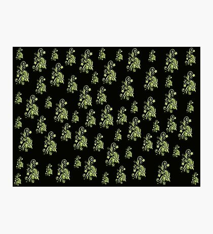 Cannary green flowers on black, ornament, asymetric floral design Photographic Print