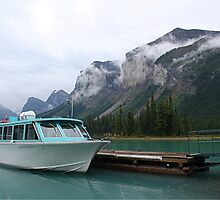 Atmospheric mountains at Maligne Lake by Funkylikeabee