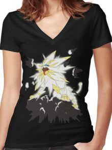 Pokemon Moon and Sun- Solgaleo Women's Fitted V-Neck T-Shirt