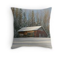 Old Barn Winter Snow Scene Throw Pillow