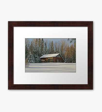 Old Barn Winter Snow Scene Framed Print