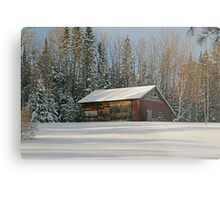 Old Barn Winter Snow Scene Metal Print