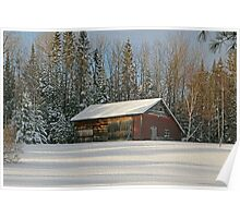 Old Barn Winter Snow Scene Poster
