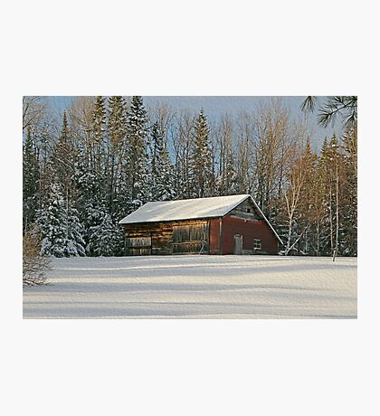 Old Barn Winter Snow Scene Photographic Print