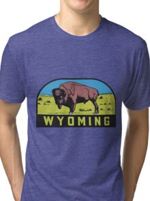 Wyoming WY State Bison Buffalo Vintage Travel Decal Tri-blend T-Shirt