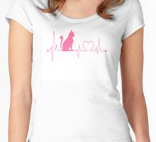 Cat Heartbeat pink Women's Fitted Scoop T-Shirt