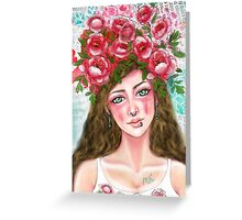 Floral Haired Girl Greeting Card