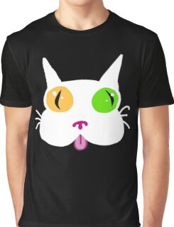 Silly White Kitty Cat Graphic T-Shirt