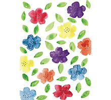 Bright Florals in Watercolour Photographic Print