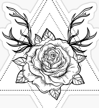 Deer Rose  Sticker