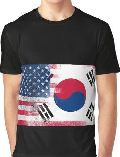 Korean American Half South Korea Half America Flag Graphic T-Shirt