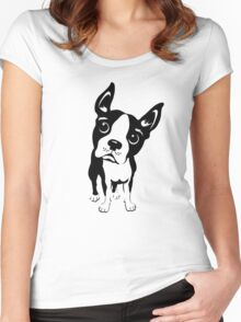 Boston Terrier Dog  Women's Fitted Scoop T-Shirt
