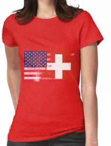 Swiss American Half Switzerland Half America Flag Womens Fitted T-Shirt