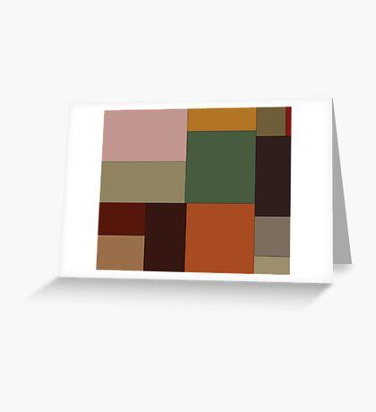 Abstraction #156 Green Orange pink blocks Greeting Card